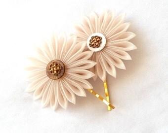 Elegant Organza Hair Flowers Neutral Colors Kanzashi Bobby Pins