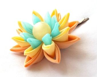 Rainbow Colors Lotus Hair Pin Peach Yellow Aqua Water Lily Tsumami Kanzashi Wearable Fiber Art Flower