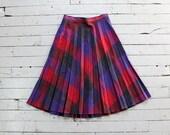 Plaid Wool Skirt M • 70s Skirt • Pleated Plaid Skirt • Wool Plaid Skirt • Winter Flared Skirt • Red Plaid Skirt • Wool Midi Skirt | SK721
