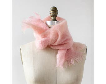 Les Copains Fluffy Scarf • Mohair Scarf • Pastel Pink Scarf • Knit Scarf • Winter Scarf • Fringe Scarf • Wool Scarf | SC314