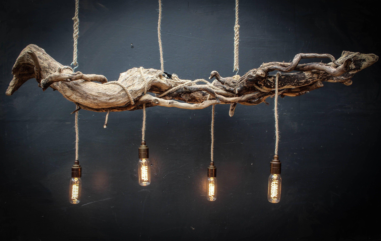 Driftwood Chandelier Vintage Filament Bulbsvintage Filament