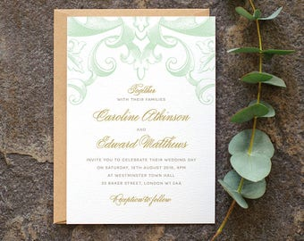 Romantic Wedding Invitation / 'Victorian' Modern Calligraphy Wedding Invite / Pastel Mint Green Gold / Custom Colours Available / ONE SAMPLE