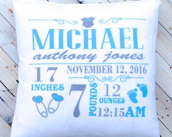 Birth Announcement Pillow - New Baby Gift - Nursery Decor - Pink Princess for Girl and Blue for Boy - Plush White 14 x 14 Inches  - Cushion