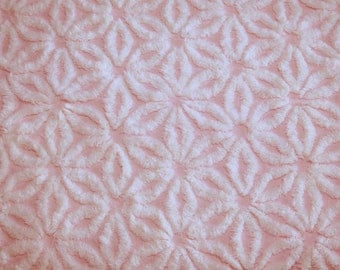 28 x 26 Inches - Pretty Pink and Fluffy White Daisy Hofmann Vintage Chenille Bedspread Fabric Piece
