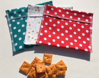 Reusable Snack Bag Set FREE SHIPPING Set of 3 Red Teal Dots