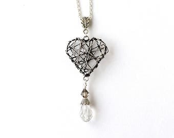 Silver Heart Necklace, Antique Silver Plated Wire Heart with Crystal Droplet on 22 inch Chain, Antique Style Jewellery, UK, 1203a