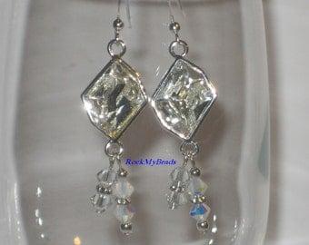 Clear Crystal Drop Earrings w' Swarovski Clear & White Opal AB Bicone Crystals,Earrings,Jewelry,Crystal Earrings,Wedding Jewelry,Bridal