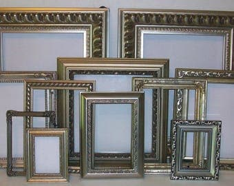 Set of 11 Shabby Chic Ornate Shades of Silver Picture Frames for Gallery Wall, Wedding Decor, Nursery Decor
