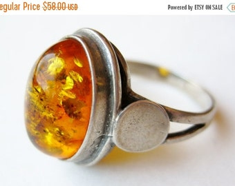 HOLIDAY SALE Vintage Ring Baltic Amber Cabochon Sterling Silver Ring size 7