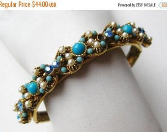 HOLIDAY SALE Vintage 50s Florenza Gold Turquoise Rhinestone Pearl Jeweled Hinged Bangle Bracelet