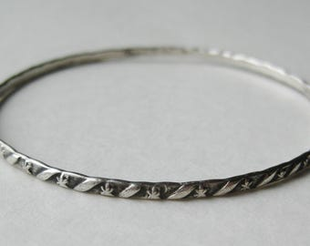 Vintage Art Deco Mexican Sterling Silver Bangle Bracelet