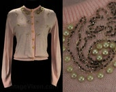Size 10 Pink Cardigan - 1950s Rhinestones Beads & Pearls - 50s Medium Pastel Button Front Sweater - Bobby Soxer Sweet - Bust 38.5 - 47394