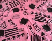 Pink Stretch Knit Fabric with Black Geometric Pattern 2 Yards X0691