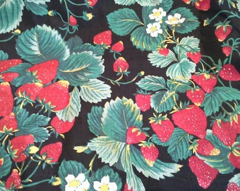 Strawberry Print Cotton Fabric 4 Yards X0753 Quilting Cotton