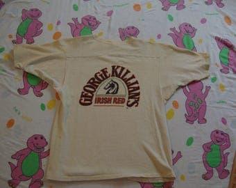 Vintage 70's George Killian's Irish Red Beer Liquor Beige Jersey T Shirt Adult Size S