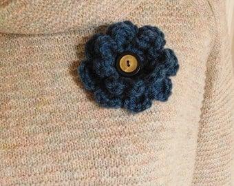 Crochet Flower Pin-Dark Blue Flower Pin- Flower Brooch-Dark Blue Crochet Flower-Crochet Flower with Button-Crocheted Pin-Blue Crochet Brooch