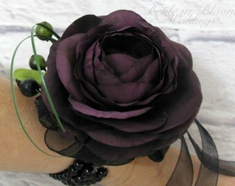 Plum ranunculus wrist corsage - Wedding corsage bridesmaids mother of the bride
