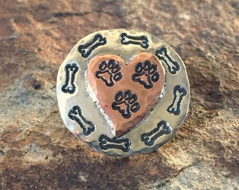 Tripawd 3-Paw Sterling Silver Stamped Lapel Pin