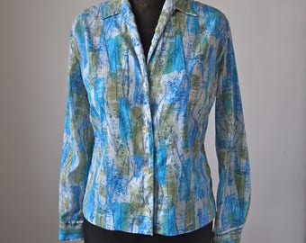 60's Blouse Blue Green Abstract Crinkle Print Donnkenny Size 14/34