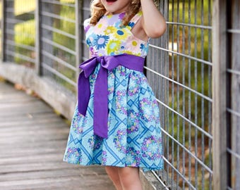 Girls Vintage Inspired Dress Eleanor in Garden Delights with Sash by Boutique Elli'Ette