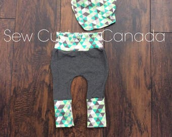 Grow with Me Harem Equalateral inspired Pants and bandana bib~ bum pants Ready to Ship