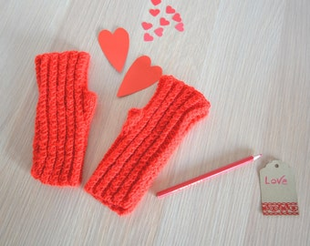 Valentines day gift fingerless knit gloves red knit mittens winter red gloves fingerless womens mittens