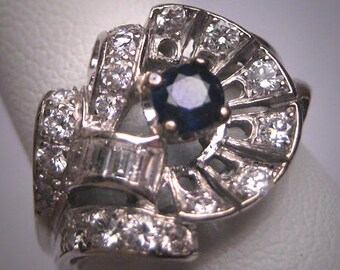 Antique Sapphire Diamond Wedding Ring Vintage Art Deco 1930