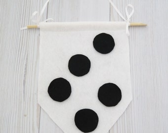Felt flag , wall hanging , black and white wall art , black and white room, kids room decor