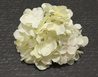 One Artificial IVORY Hydrangea Head - Artificial Flowers, Silk Flowers, Flower Crown, Hair Accessory, Wedding Flowers, Millinery, Scrapbook