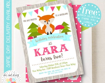 Woodland Fox Invitation, Fox Birthday Invitation, Fox Birthday Party, Fox Party Invitation, Girls First Birthday, BeeAndDaisy