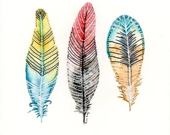 Feathers 8x8inch Original Watercolor Painting