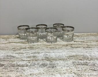 Vintage Neat Glass Set, Rocks Glass Set, Silver Rim Glass Set, Mad Man Glass Set