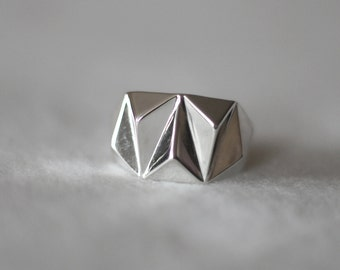 Geometric Prism Solid 3d Printed Ring- Sterling Silver