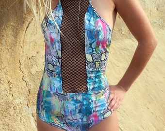 Sexy Cheeky Swimwear One Piece Cut Out Multi Color Snakeskin Swimsuit