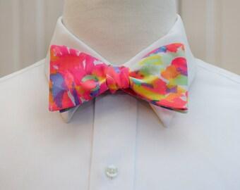 Men's Bow Tie, neon coral bow tie, Palm Beach Coral bowtie, groomsmen gift, wedding party bow tie, groom bow tie, Lilly bow tie, prom bowtie