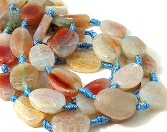 Aqua Fired Crackle Agate, Very Light Pale Blue with Red-Orange, 15x20mm, Oval, Smooth, Puffed, Gemstone Beads, Large, 13pcs - ID 587-VLT