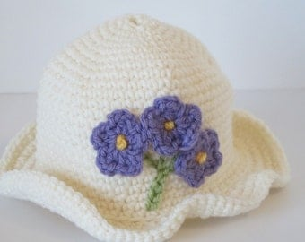 White Ruffled Brim Baby Girl's Crocheted Hat with Lavender Flowers