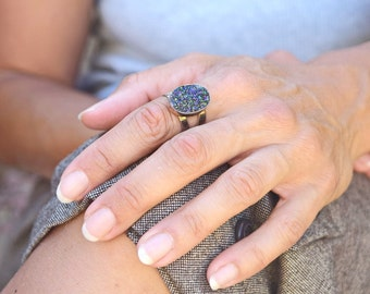 Druzy ring sterling silver vintage ladies ring boho jewelry trendy ring bohemian ring sparkling drusy purple gift for her