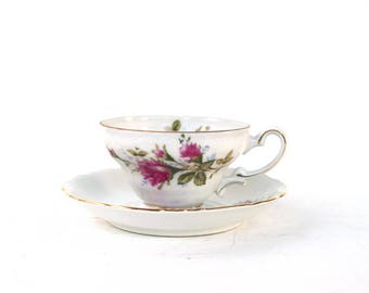 Royal Sealy China tea cup and saucer Japan collectible teacup rose white gold housewarming gift Mothers Day birthday Christmas rose cottage
