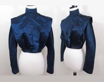 Victorian Royal Blue Silk Jacket - Pleated trim, covered buttons, fully lined - Best for period display