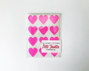 HOT PINK Heart Stickers / Set of 36 / Packaging / Gift Wrap / Stationary / Party Supplies / Wedding Favors / Party Favors / Birthday Favors