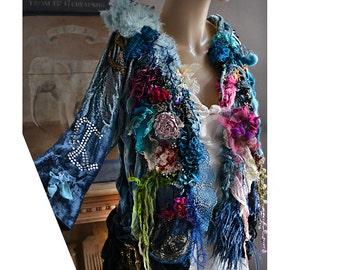 RESERVED Unique Art To Wear Hippie Velvet Jacket PEACE SIGN Flowers White/Red Parrot Tulip Silk Roses Velvet Roses Gipsy Boho Tatterd Fairy