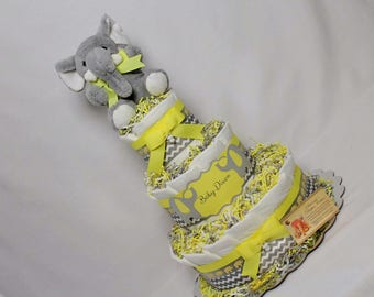 Elephant Baby Diaper Cake SELECT MAIN COLOR and Gray Chevron Shower Gift Shower Centerpiece