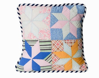 Vintage Quilt Pillow Cover, 15 Inches, 1930s Quilt, Pinwheel Blues Orange Pink, Fat Navy White Striped Piping, Shabby Chic, Retro
