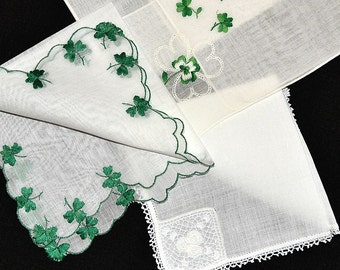 ASSORTMENT Vintage St. Patricks Day Hankies 3 Total Shamrocks Embroidery Crochet Lace Green White Corded Edges Excellent Condition