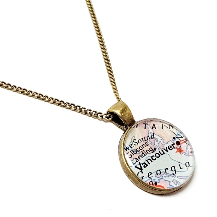 vancouver map necklace vancouver necklace made with a real