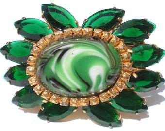 Vintage Glass Jewelry Brooch with Swirled Green & White Art Glass Bright Rhinestones on Gold Tone 60s Retro