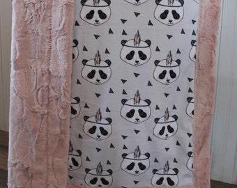 Baby Blanket,Ships today- Minky baby blanket, Panda minky baby blanket, 30 x 39