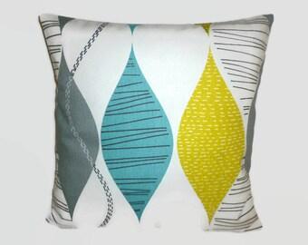 "4 Teal Pillow Cushion Covers Retro Funky Green Grey Geometric Decorative Designer Throws Slips 16"" (40cm)"