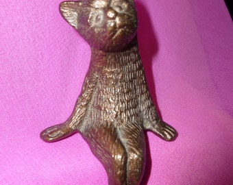 Vintage brass cat - unusual sitting kitten - solid brass kittie - old cat ornament - vintage ornament - feline collectible
